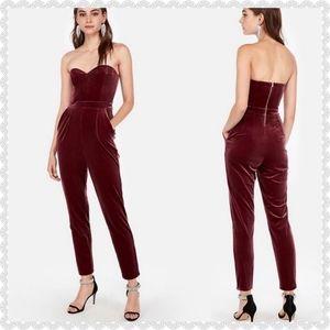NWT Express Burgundy Velvet Jumpsuit size 8 Petite